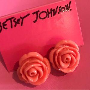 Peach pink rose earrings tea party Betsey Johnson